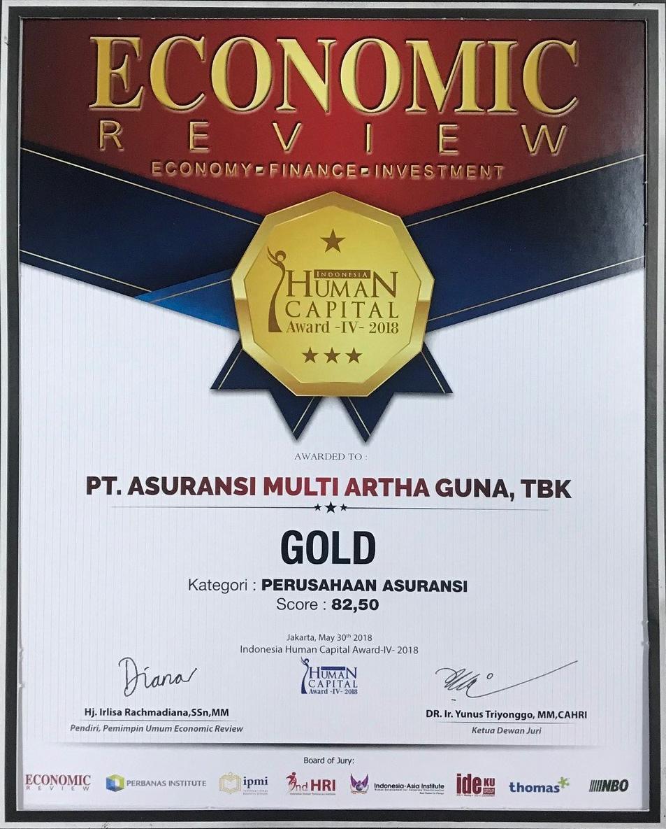 Perusahaan meraih penghargaan dari Majalah Economic Review dalam acara Indonesia Human Capital Award (IHCA) IV – 2018 , yaitu Peringkat  Gold : Kategori Perusahaan Asuransi