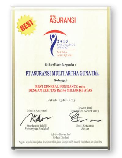 """Juni 2013, Majalah MEDIA ASURANSI menganugerahkan untuk ke lima kali berturut-turut kepada Perusahaan sebagai """"Best General Insurance""""kategori Perusahaan Asuransi Umum dengan Ekuitas Rp750 miliar ke atas. Majalah Media Asuransi merupakan media sarana informasi bisnis perasuransian dan keuangan terkemuka di Indonesia."""