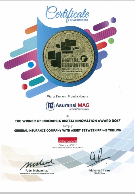 """Pencapaian terakhir yang di dapatkan oleh perusahaan dari majalah Warta Ekonomi pada bulan Juni 2017 yaitu """"Indonesia Digital Innovation Awards 2017"""" untuk kategori Asuransi Umum dengan antara 1 - 5 Triliun."""