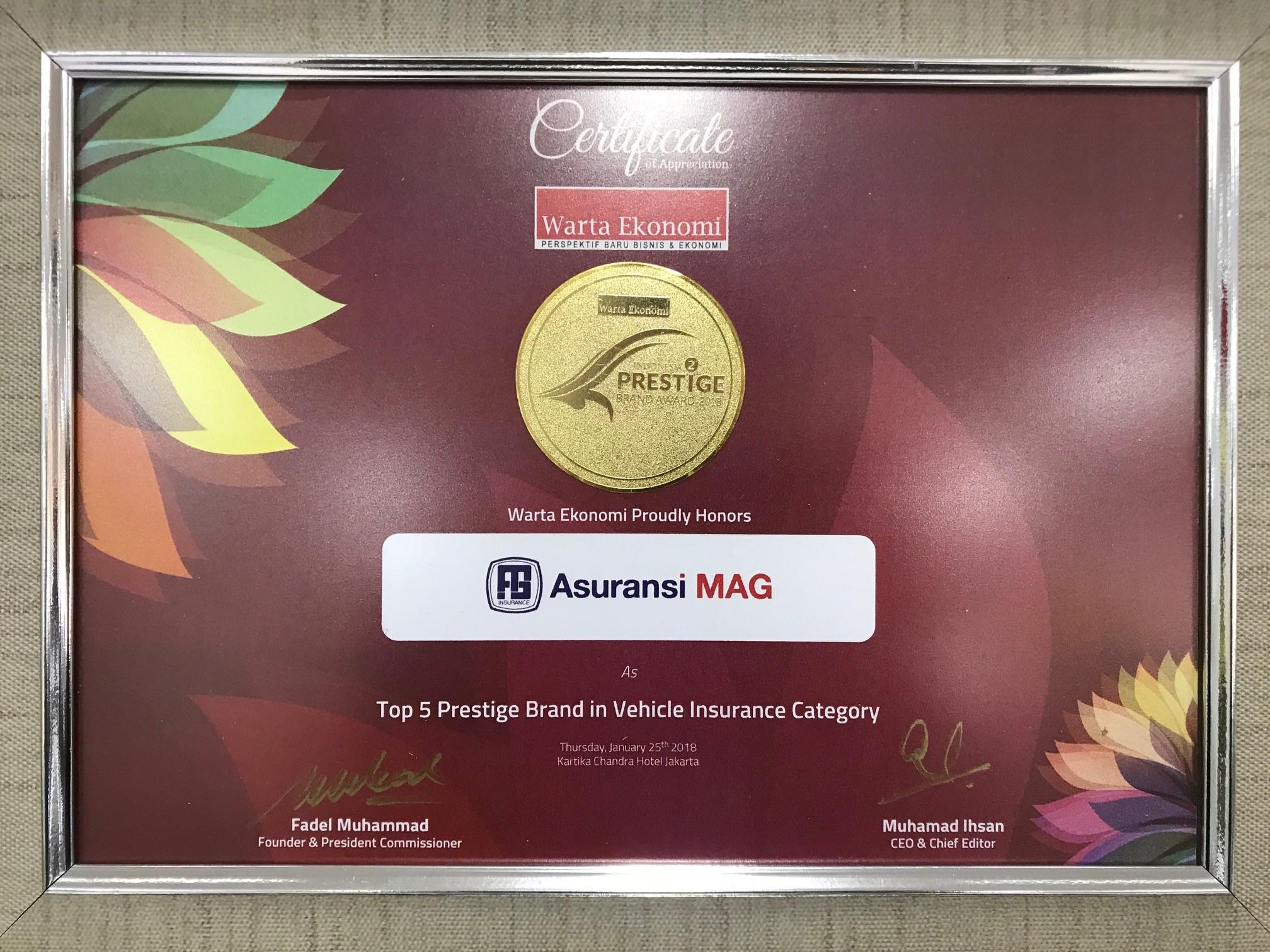 """Pencapaian pertama yang di dapatkan di tahun 2018 oleh Perusahaan dari majalah Warta Ekonomi  yaitu """"Top 5 Prestige Brand Vehicle Insurance Category""""."""