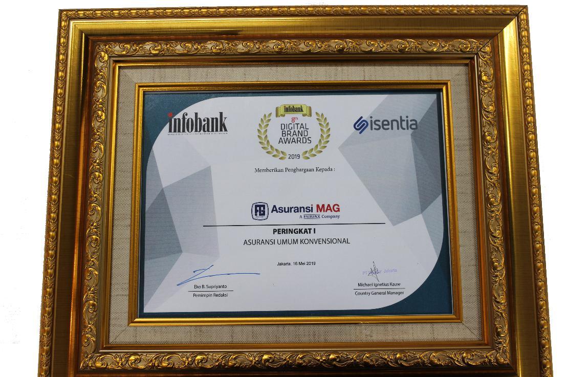 Perusahaan meraih penghargaan dari Majalah Infobank dalam acara Digital Brand Awards 2019,  yaitu Peringkat – 1 : Asuransi Umum – Konvensional.
